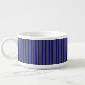 Taupe blue executive stripe custom chili bowls