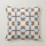Taupe & blue tile design subtle watercolor design pillow