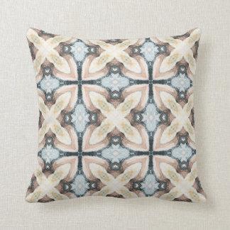 Taupe & blue tile design subtle watercolor design throw pillows