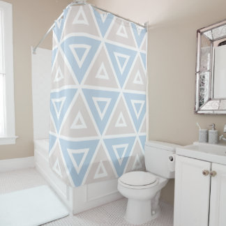 Taupe Blue Triangle Geometric Pattern Shower Curtain