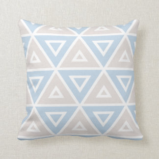Taupe Blue Triangle Geometric Pattern Throw Pillow