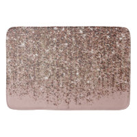 Taupe Blush Pink Rose Bronze Gold Glitter Glam Bath Mat