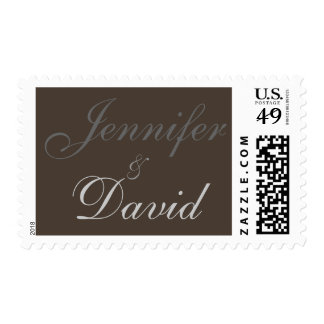 Taupe Bride & Groom Names Script Charming Postage