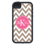 Taupe Brown and Pink Chevron Custom Monogram Case For iPhone SE/5/5s
