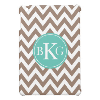 Taupe Brown and Teal Chevron Custom Monogram Case For The iPad Mini