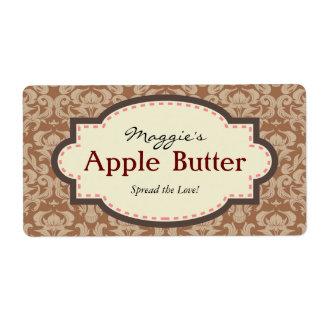 Taupe & Brown Apple Butter Jam Jar Labels, Custom Label