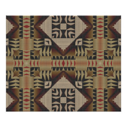 Taupe Brown Dark Red Black Ethnic Tribal Mosaic Poster