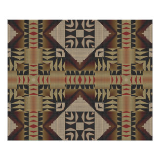 Taupe Brown Dark Red Black Ethnic Tribal Mosaic Poster