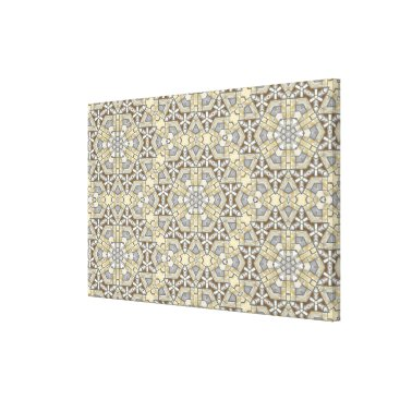 Aztec Themed Taupe Brown Gray Beige Mosaic Kaleidoscope Pattern Canvas Print