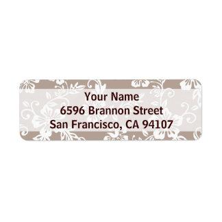 Taupe Brown Hawaiian Address Labels