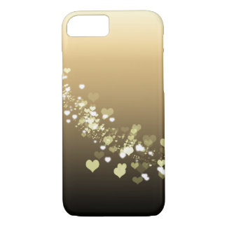 Taupe Brown Ombre Floating Hearts Ecru Tan Gold iPhone 8/7 Case