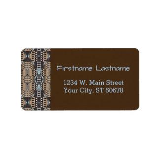 Taupe Brown Pastel Blue Rustic Mosaic Pattern Label