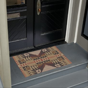 CozyCreekCabin Taupe Brown Red Black Eclectic Ethnic Look Doormat
