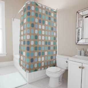 Taupe Brown Teal Turquoise Blue Round Squares Art Shower Curtain