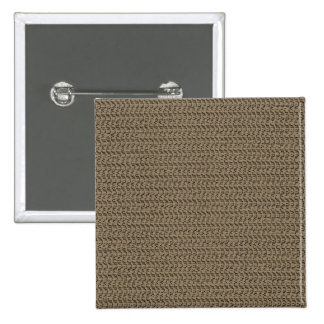 Taupe Brown Weave Mesh Look Pinback Button