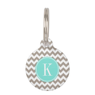 Taupe Chevron with Turquoise Monogram Pet Tags