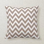 Taupe Chevron Zigzag Stripe Pattern Throw Pillow