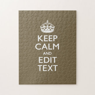 Taupe Coffee Decor Keep Calm And Your Text Easily Jigsaw Puzzle