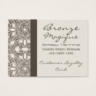 Taupe Damask Business Customer Loyalty Cards