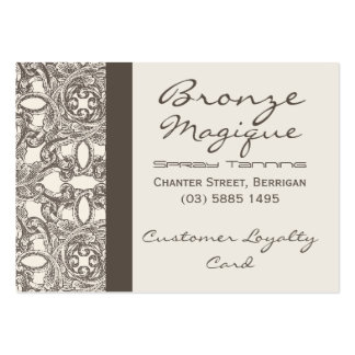 Taupe Damask Business Customer Loyalty Cards Large Business Cards (Pack Of 100)