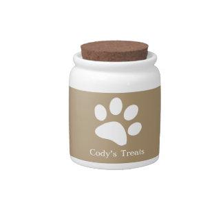 Taupe     Dog Treat Jars Candy Jars