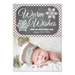 Taupe Dot Chalkboard Snowflake Holiday Photo Card Invitations