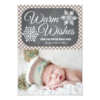 Taupe Dot Chalkboard Snowflake Holiday Photo Card