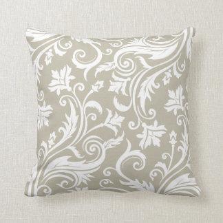 Taupe Elegant Vintage Damask Pattern Pillow