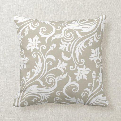 Taupe Elegant Vintage Damask Pattern Throw Pillows