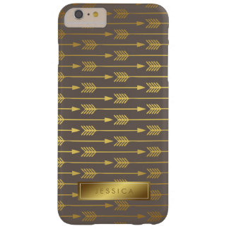 Taupe Faux Gold Foil Arrows Pattern Barely There iPhone 6 Plus Case