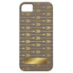 Taupe Faux Gold Foil Arrows Pattern iPhone 5 Case