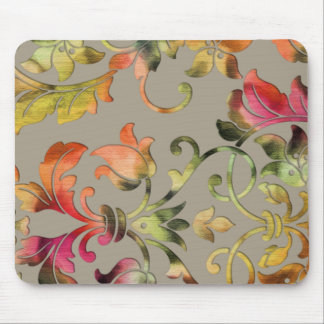 Taupe Floral Pattern Damask Mouse Pad