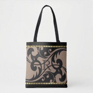 Taupe Flourish Design Gold Border with Monogram Tote Bag