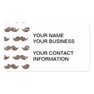 Taupe Glitter Mustache Pattern Printed Business Card