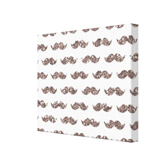 Taupe Glitter Mustache Pattern Printed Gallery Wrap Canvas