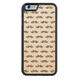 Taupe Glitter Mustache Pattern Printed Carved Maple iPhone 6 Bumper Case