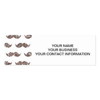 Taupe Glitter Mustache Pattern Printed Mini Business Card