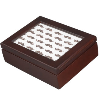 Taupe Glitter Mustache Pattern Printed Memory Boxes