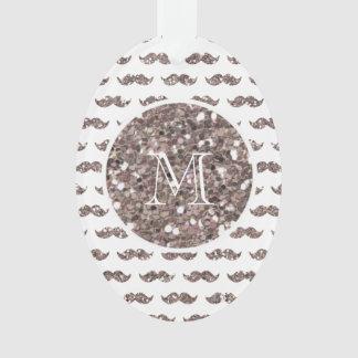 Taupe Glitter Mustache Pattern Your Monogram