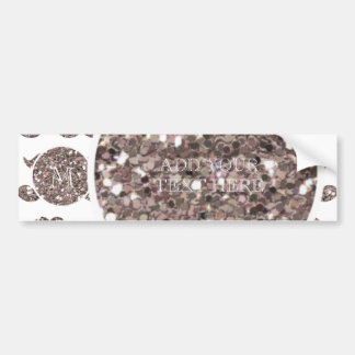 Taupe Glitter Mustache Pattern Your Monogram Bumper Sticker