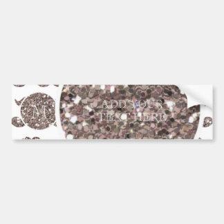 Taupe Glitter Mustache Pattern Your Monogram Bumper Sticker