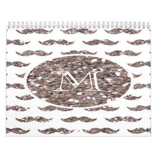 Taupe Glitter Mustache Pattern Your Monogram Wall Calendar