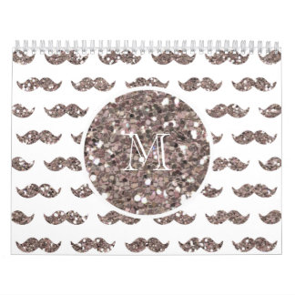 Taupe Glitter Mustache Pattern Your Monogram Calendar