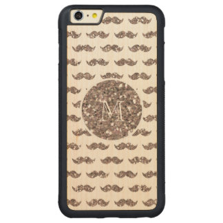 Taupe Glitter Mustache Pattern Your Monogram Carved Maple iPhone 6 Plus Bumper Case
