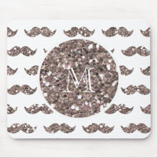 Taupe Glitter Mustache Pattern Your Monogram Mouse Pad