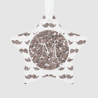 Taupe Glitter Mustache Pattern Your Monogram Ornament
