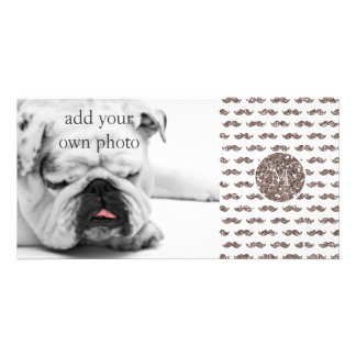 Taupe Glitter Mustache Pattern Your Monogram Customized Photo Card