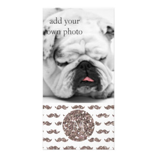 Taupe Glitter Mustache Pattern Your Monogram Personalized Photo Card