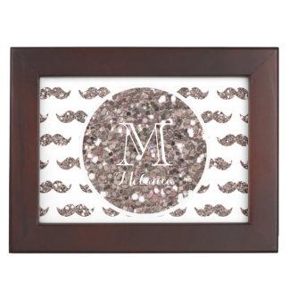 Taupe Glitter Mustache Pattern Your Monogram Keepsake Box