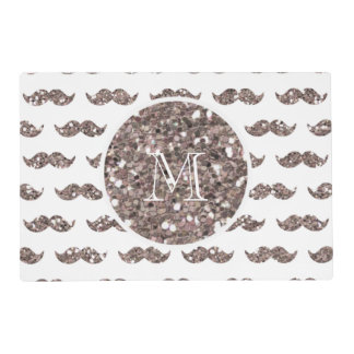 Taupe Glitter Mustache Pattern Your Monogram Placemat